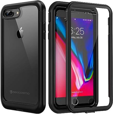 Coque pour iPhone 8 Plus, iPhone 7 Plus, [protection d'écran intégrée] Seacosmo intégrale transparente antichocs Coque de protection robuste pour ...