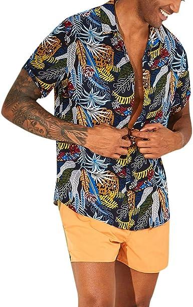 CAOQAO Camisas Hombre Manga Corta Camisa de algodón para Hombre Camisa con Cuello caído Manga Corta Suelta Camisa Casual Top: Amazon.es: Ropa y accesorios