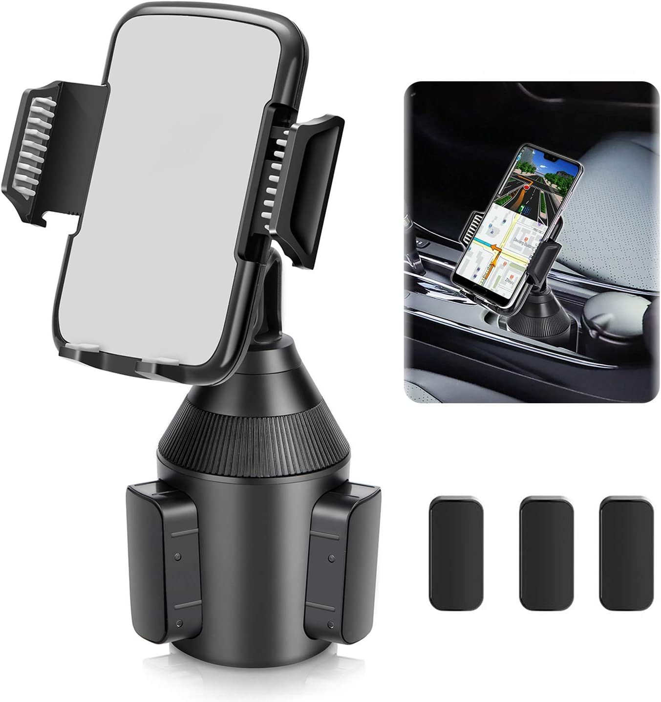 Car Cup Holder Phone Mount,Universal Smart Adjustable Automobile Cell Phone Mount for iPhone 11 pro//Xs//Max//X//XR//8//7//6 Plus Samsung Galaxy S10//S9//S8 Note 9 Nexus Sony//HTC//Huawei//LG//Smartphones