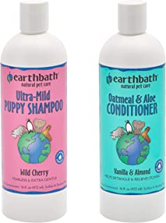 product image for Earthbath Ultra-Mild Puppy Shampoo and Oatmeal & Aloe Conditioner Grooming Bundle - Wild Cherry, Tearless & Extra Gentle - Vanilla & Almond, Detangles & Relieves Itching - 16 fl. oz Each