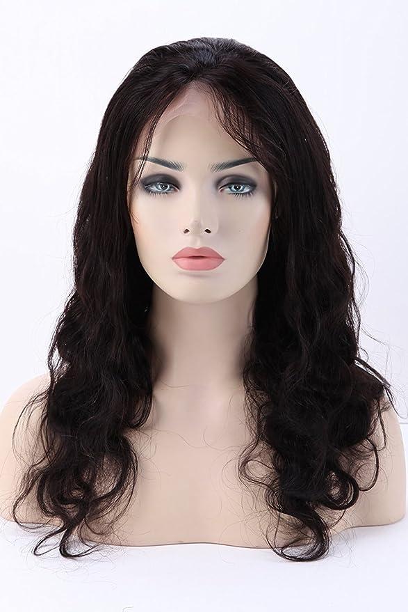Peluca brasilera para damas Full Lace, con cabello auténtico humano de bebé, n. 1B color negro natural: Amazon.es: Belleza