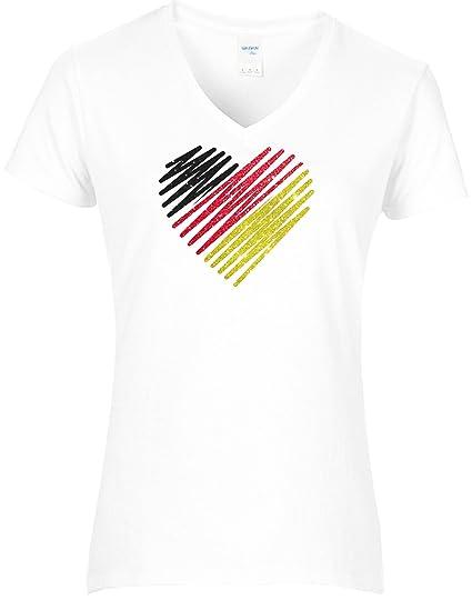 Damen Deutschland mit Herz Shirt Tshirt