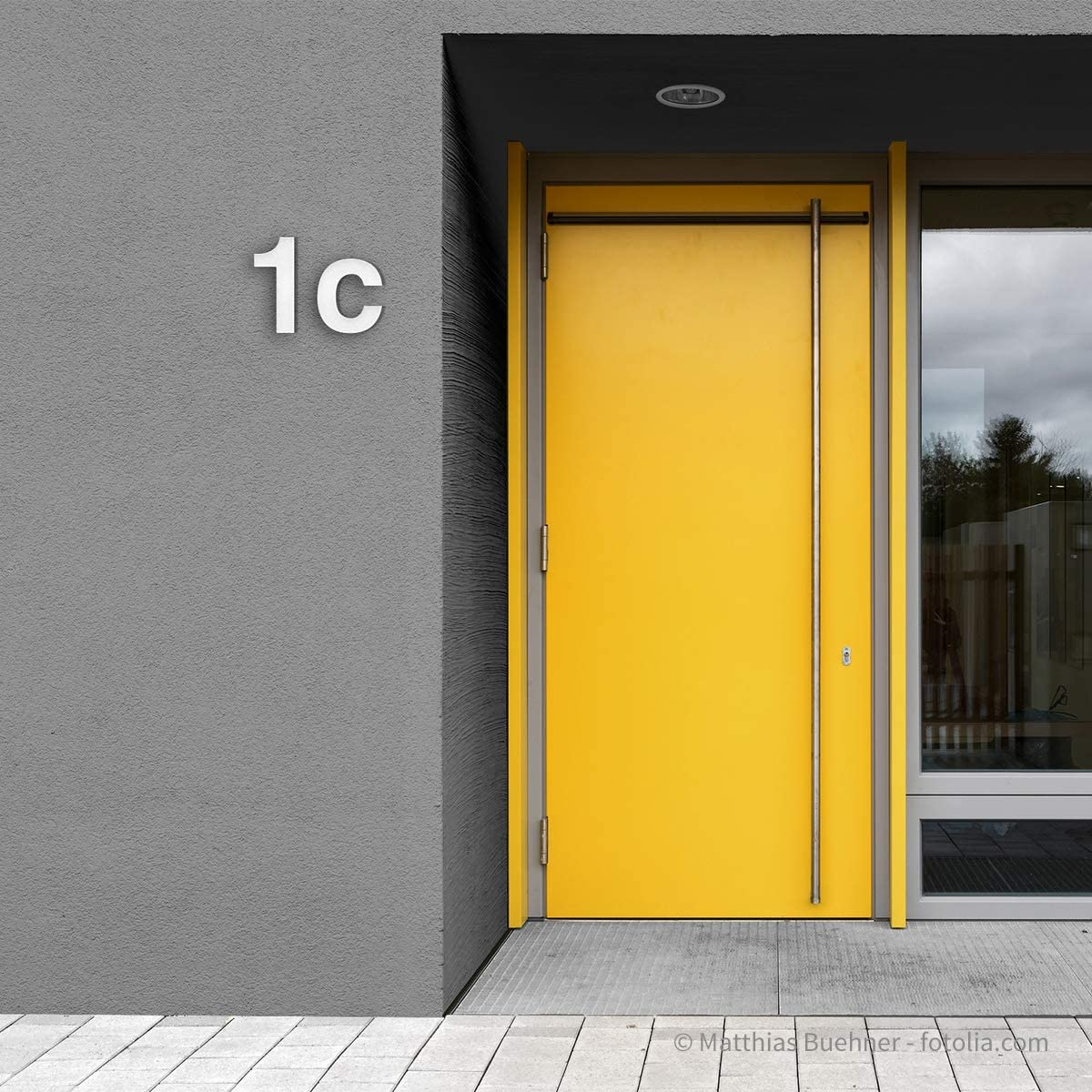 Thorwa/® moderne Design Edelstahl Hausnummer Helvetica H: 200mm RAL 9003 6 wei/ß pulverbeschichtet