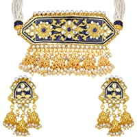 Aheli Stylish Traditional Enamel Faux Kundan Pendant Necklace Earrings Indian Fashion Ethnic Bollywood Jewelry for Women