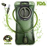 Hydration Bladder 2 Liter Leak Proof Water Reservoir, Military Water Storage Bladder Bag, BPA Free Hydration Pack Replacement, for Hiking Biking Climbing Cycling Running, Large Opening, Insulated Tube
