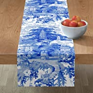 Table Runner - Blue and White Chinoiserie Toile Willow Chinese Watercolor Abstract by Peacoquettedesigns - Cotton Sateen Table Runner 16 x 90
