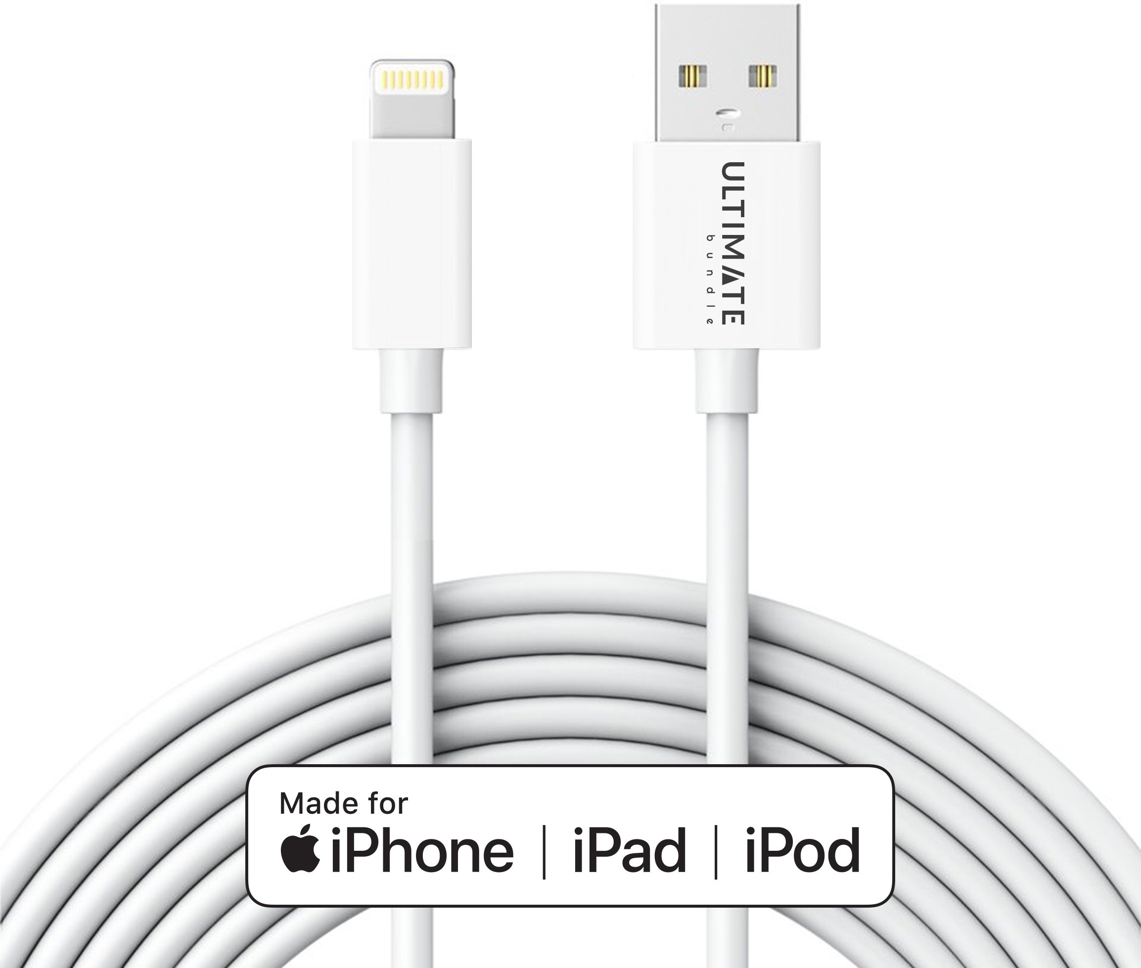 [Apple MFI Certified] 10ft Lightning Cable by UltimateBundle, iPhone Charger, Most Durable USB Charging Cord Ever Made for iPhone X/8/8 Plus/7/6s/6/iPad (White)