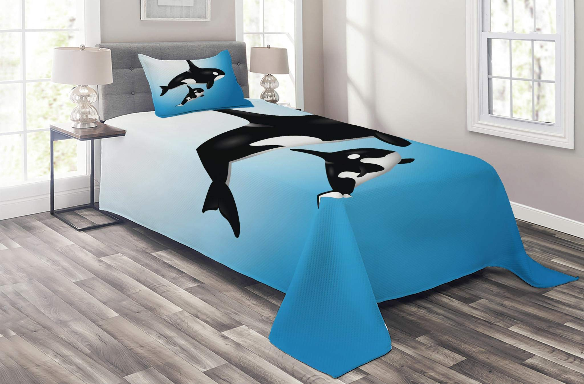 Lunarable Whale Coverlet Set Twin Size, Orca Family Mother and Baby Swimming in The Ocean Children Parenthood Theme, 2 Piece Decorative Quilted Bedspread Set with 1 Pillow Sham, White Black by Lunarable