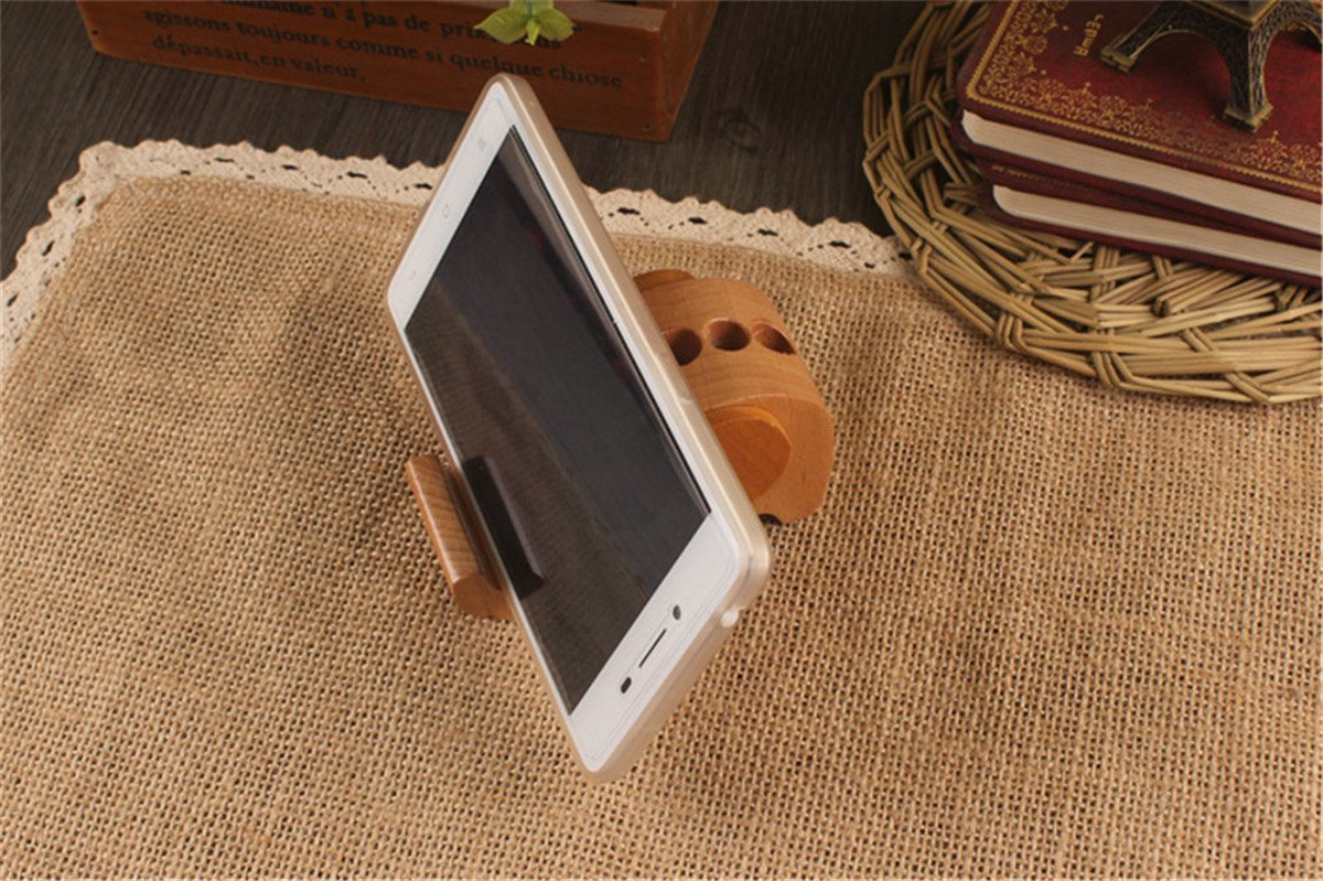 APSOONSELL Wood Elephant Phone Holder & Cute Desktop Card, Note Pad, Pencil Organizer by APSOONSELL (Image #2)