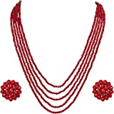 DS Red Opaque Stone Necklace With Earring Set for Women
