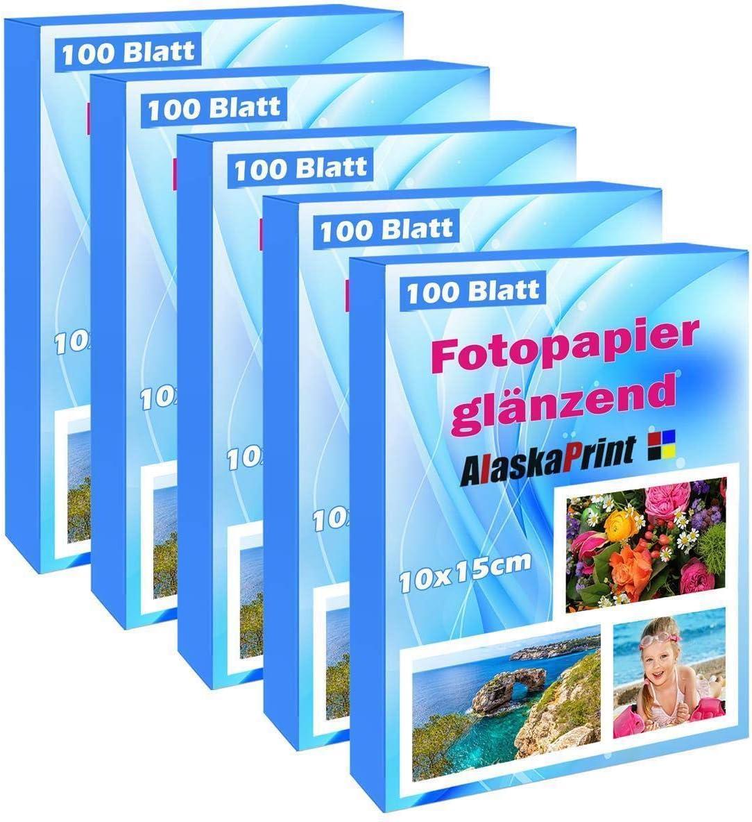 ALASKAPRINT papel fotográfico brillante (10 x 15 cm) (500 hojas) (240 g/m²) Tarjetas fotográficas Secado instantáneo Impermeable Blanco: Amazon.es: Oficina y papelería