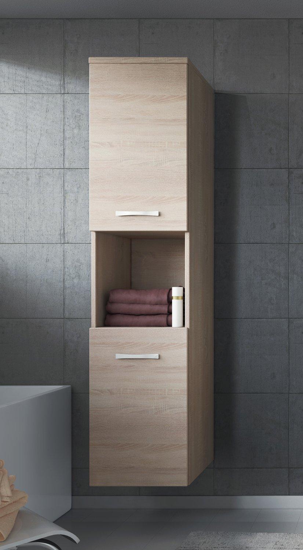 Badezimmer Schrank Montreal 131 cm Grau Hochglanz Fronten – Regel ...