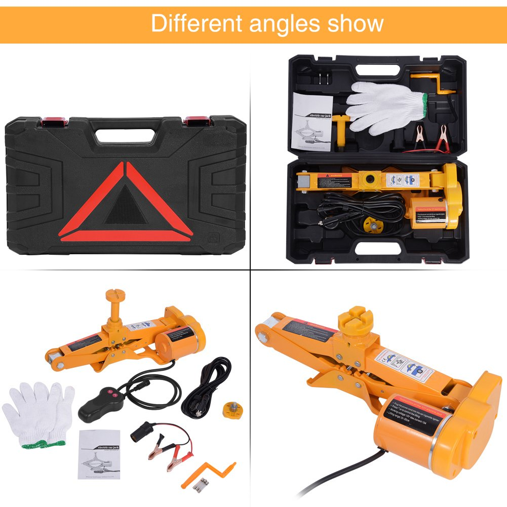 Automotive Car Electric Jack,3 Ton 12V DC Electric Scissor Car Jack Lifting Tire Wheel Repair Changing Kit SUV Van and Emergency Equipment by Estink (Image #9)