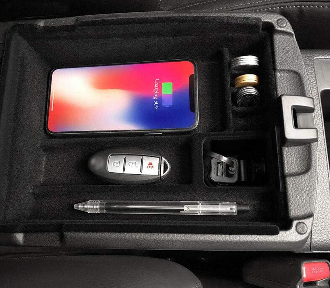 RROOM Accesorios para el Interior del Coche Cargador inal/ámbrico para el Coche para Nissan X-Trail Rogue T32 2014-2018 reposabrazos Central Caja de Carga inal/ámbrica para Coche