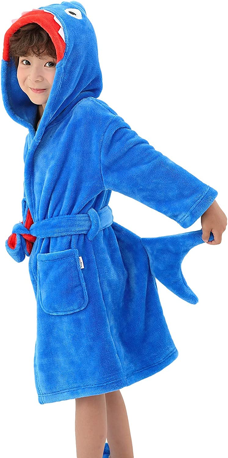 Boys' Girls' Hooded Bathrobe Soft Animal Plush Robe Kids Sleepwear Dressing Gown Gift