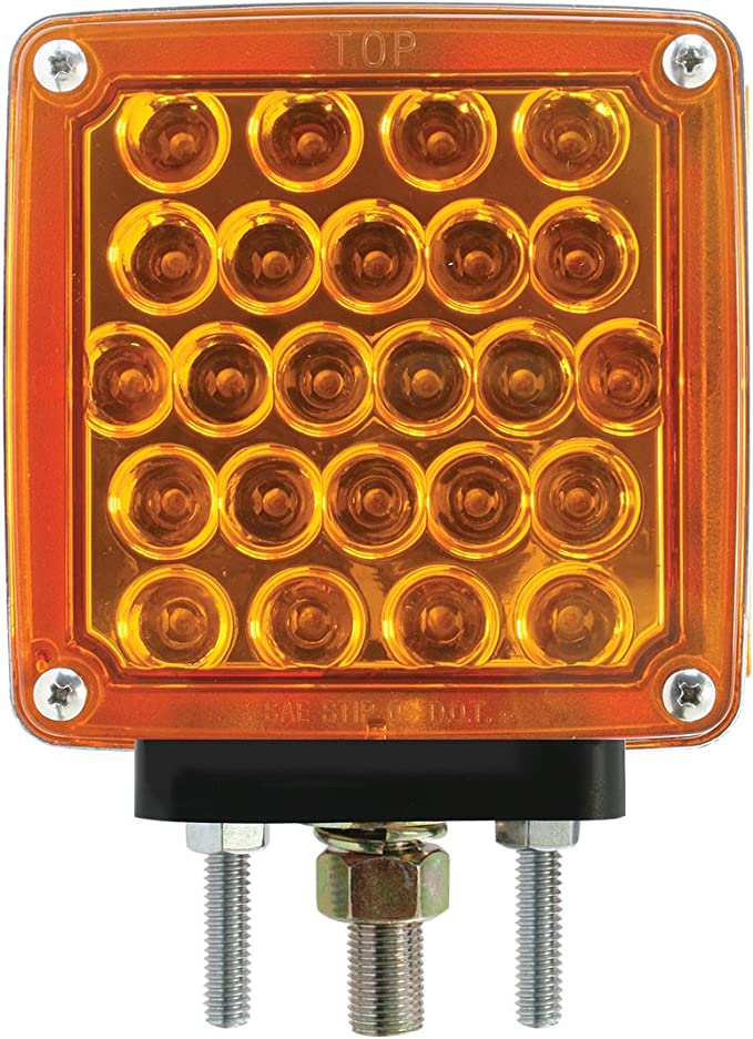 """Red ~ New 4/"""" Single Faced Pearl LED Round Pedestal Light Amber"""