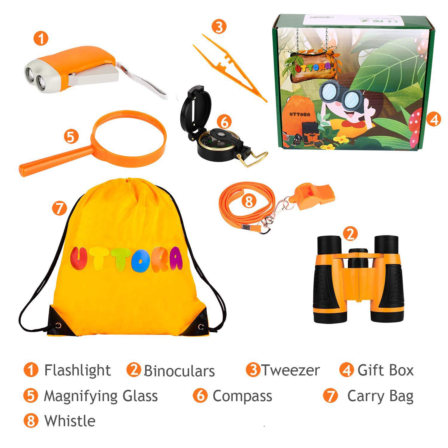 UTTORA Kids Binoculars Toy Set, Outdoor Exploration Set, Best Gift for 3 4 5 6-12 Year Old Boy and Girl, Kids Adventure Kit, Children Outdoor Educational Kit