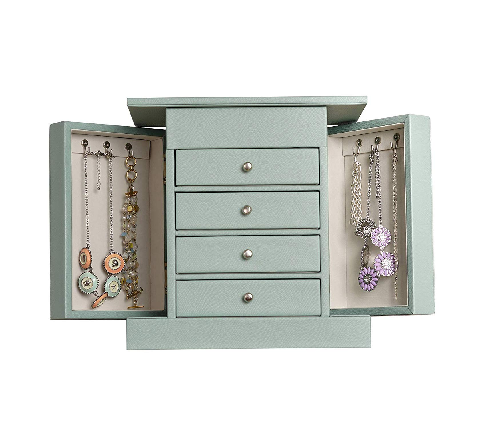 Wood & Style Furniture Blue Jewelry Box, Jewelry Organizer, Mirror Jewelry Chest Home Office Commerial Heavy Duty Strong Décor