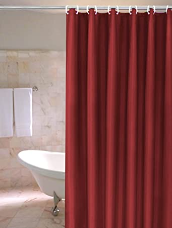 Burgundy PVC Shower Curtain Liner With Metal Grommets And Magnets