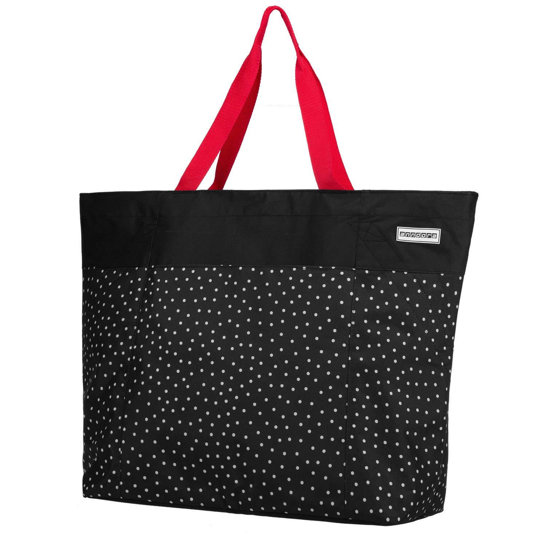 8bed9b56ca15e anndora XXL Shopper schwarz weiß gepunktet - Strandtasche 40 L product image