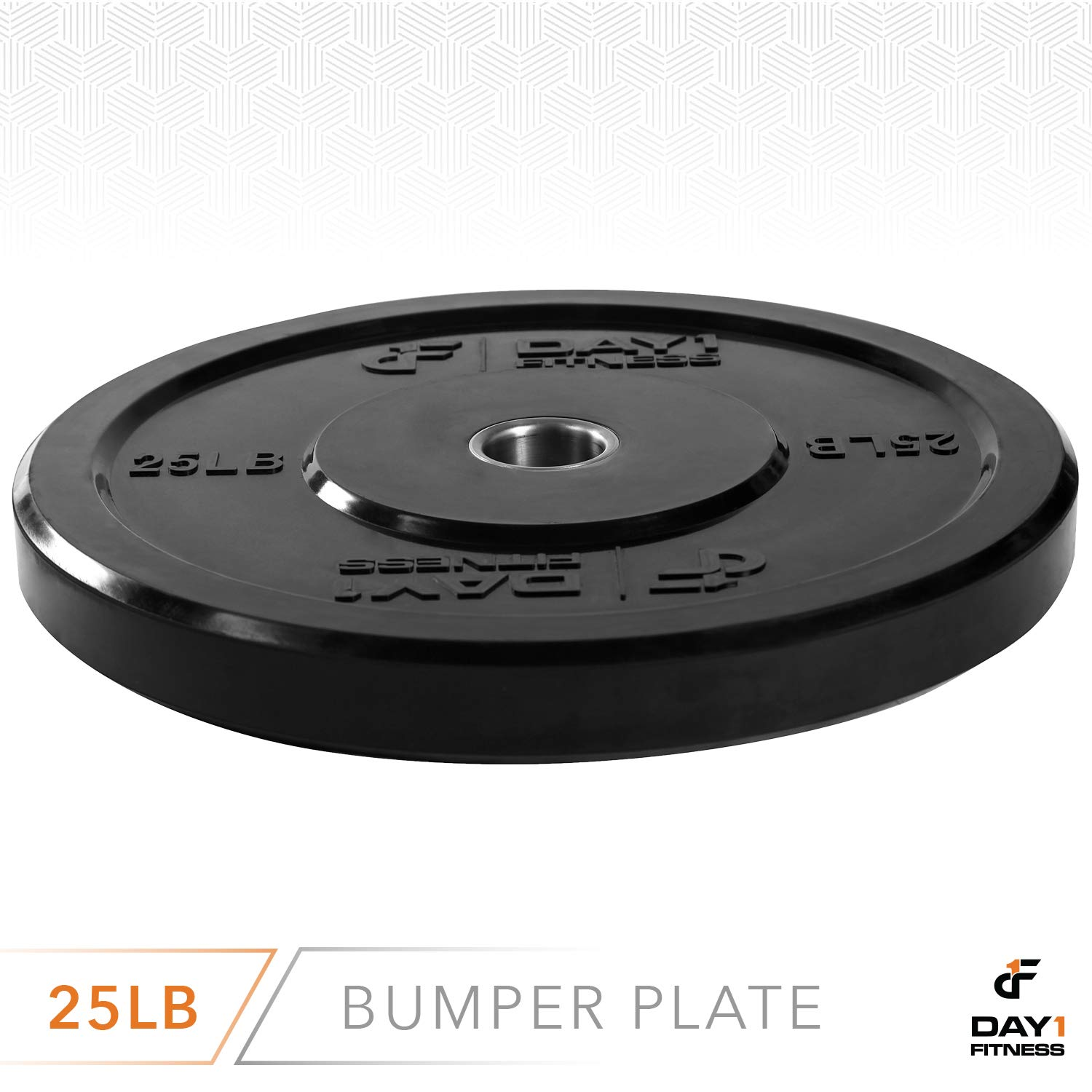 "Day 1 Fitness Olympic Bumper Weighted Plate 2"" for Barbells, Bars – 25 lb Single Plate - Shock-Absorbing, Minimal Bounce Steel Weights with Bumpers for Lifting, Strength Training, and Working Out by Day 1 Fitness (Image #3)"