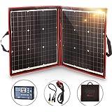 DOKIO 80W 折りたたみ式 単結晶 ソーラーパネル/太陽電池 12V 高変換効率 ソーラーチャージャー バッテリー充電用 USB (18V)出力端子