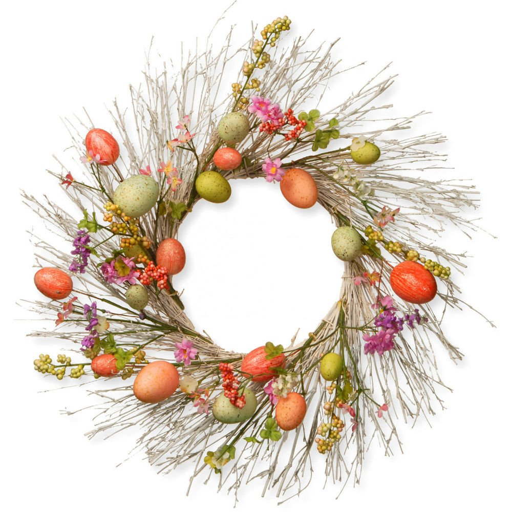 Easter Egg Wreath Assorted Color Flowers Berry Clusters Woven Base Holiday Decor by Unknown