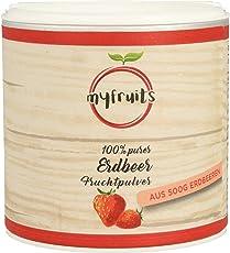 myfruits Erdbeerpulver, 100 % Erdbeeren ohne Zusätze, gefriergetrocknet. Fruchtpulver für Smoothie, Shakes & Joghurt. Hergestellt in Deutschland (50g)