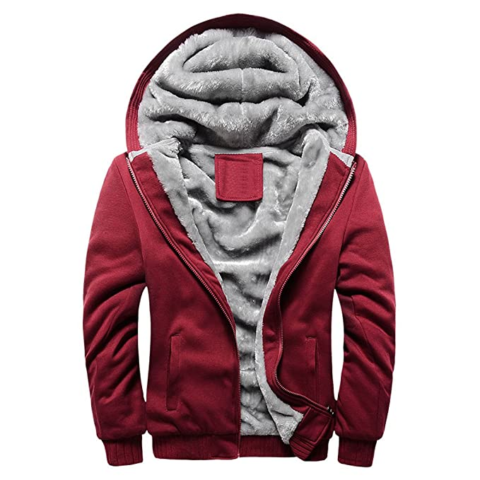 Amazon.com: Sumen Men Boys Fleece Hoodie Coat Winter Warm Zip Up Jacket Outerwear: Clothing