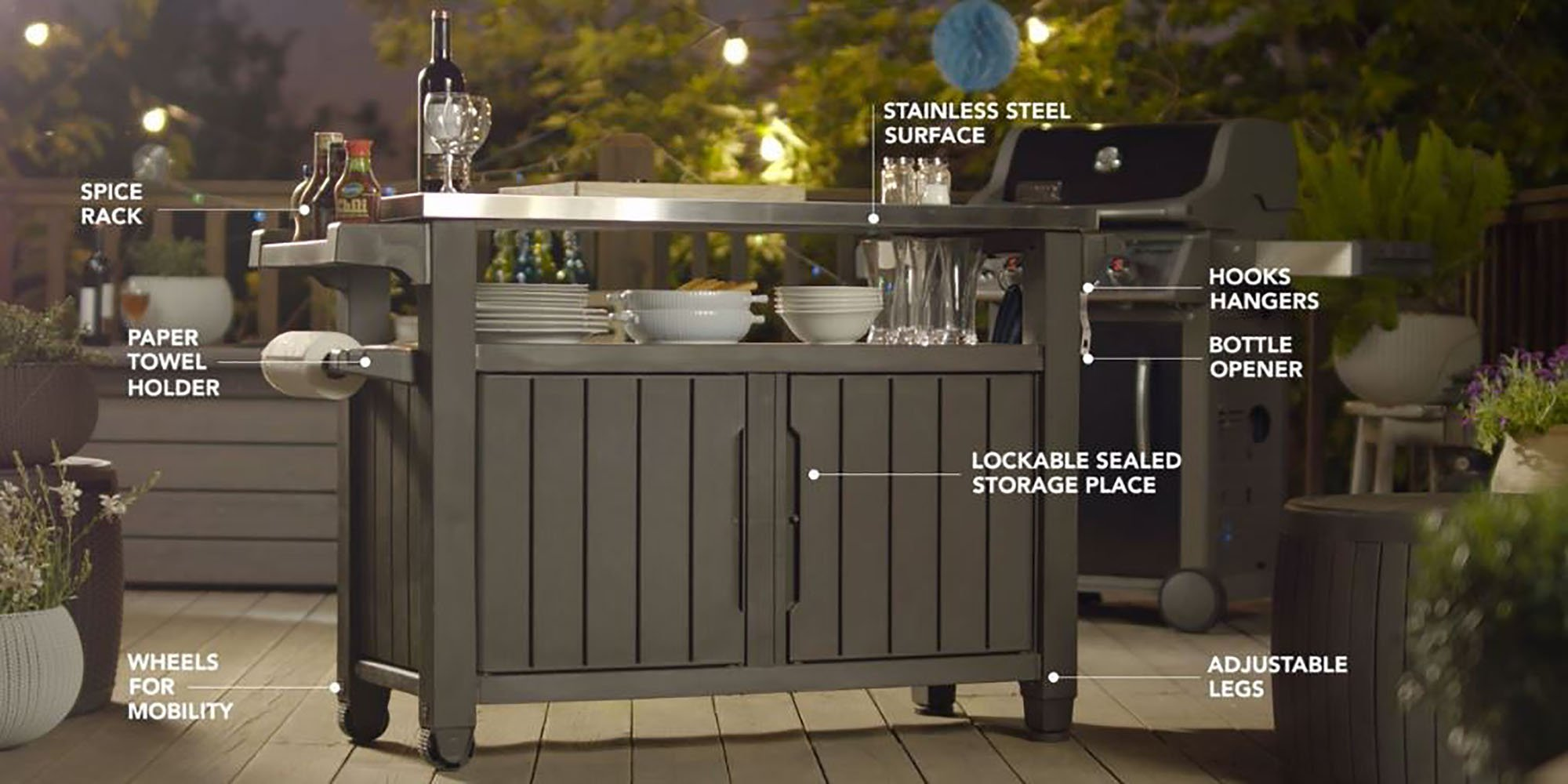 Keter Unity XL Indoor Outdoor Entertainment BBQ Storage Table / Prep Station / Serving Cart with Metal Top by Keter (Image #4)