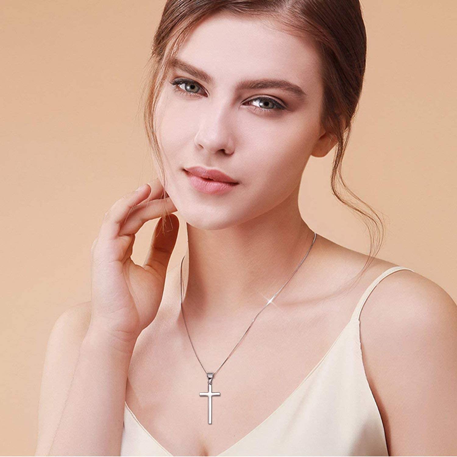 XOYOYZU Tiny Cross Pendant Necklace for Women Simple Cross Necklaces Mothers Day Birthday Gifts for Women Girl