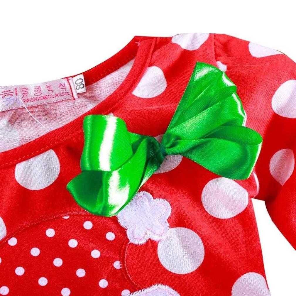 EISHOW Christmas Toddler Baby Girls Santa Claus Print Princess Party Tutu Dresses Long Sleeve New Year Polka Dot Outfits