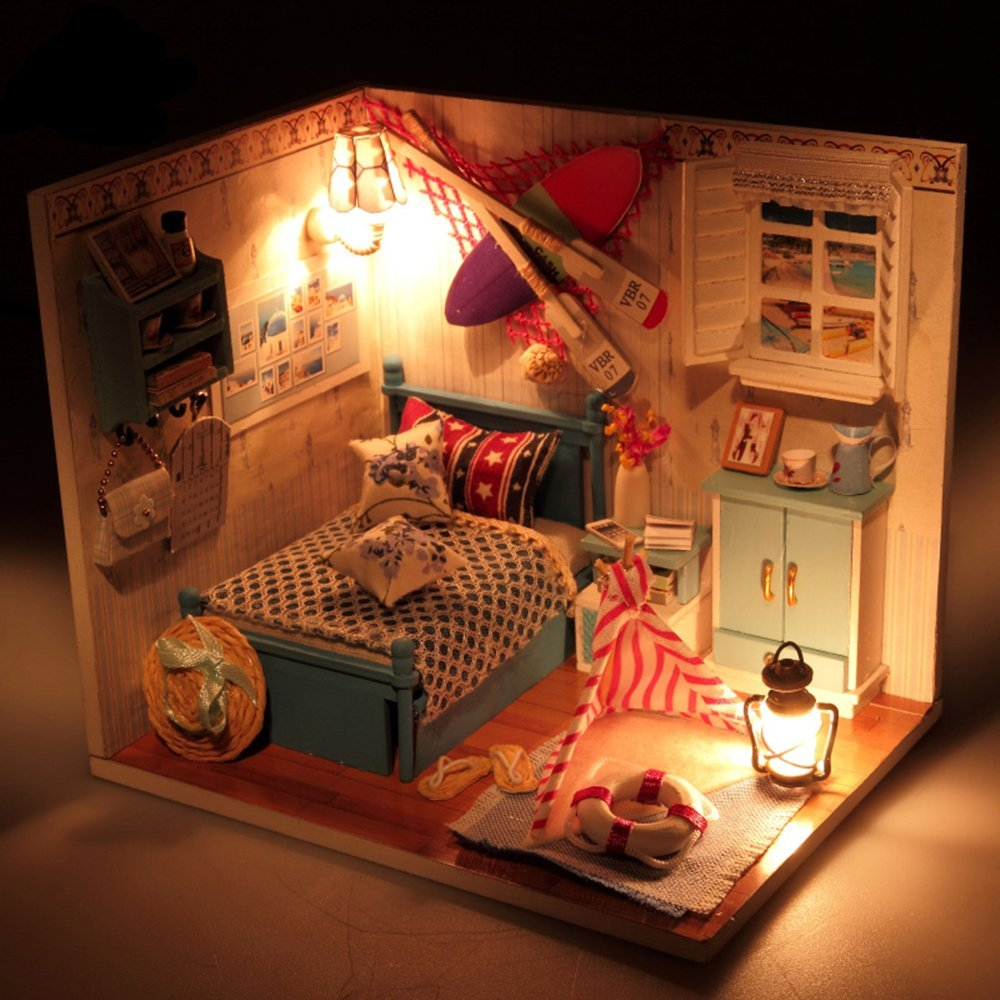 Romantic Summer Day Flever Dollhouse Miniature DIY House Kit Creative Room With Furniture and Glass Cover for Romantic Artwork Gift