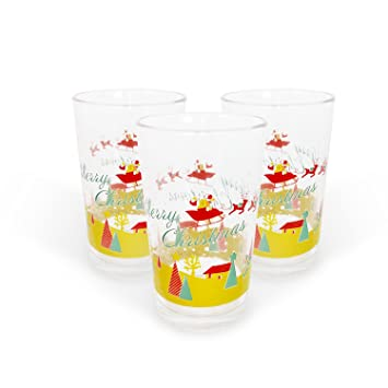 fads christmas drinking glasses set of 3 230ml - Christmas Drinking Glasses