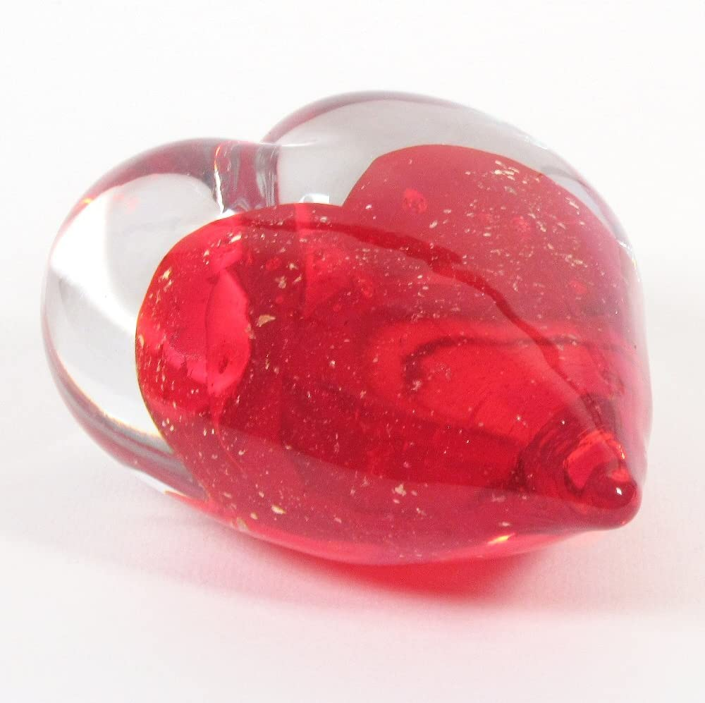 Large Art Glass Heart Handmade Red Heart with Gold Speckles enclosed in a Clear Glass Heart Truly a Gift of Love Paper Weight