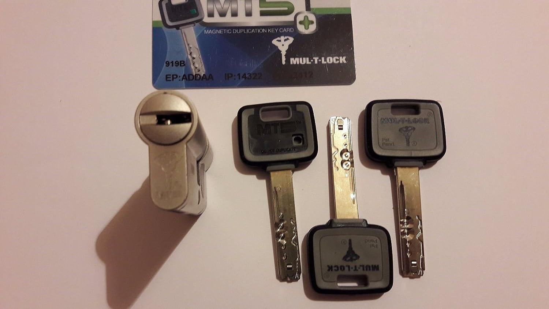 mul-t-lock MT5 + Euro de alta seguridad cerradura de cilindro 3 llaves y tarjeta de identificación, 31/31, 1: Amazon.es: Industria, empresas y ciencia