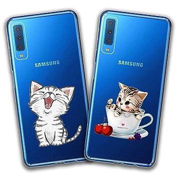 kaliter 2 X Funda Samsung Galaxy A7 2018,Gato Gracioso Suave ...
