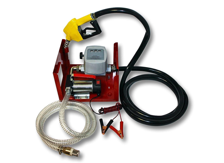 Wiltec - Bomba de gasolina o gasó leo autoaspiradora (24 V, 150 W, con surtidor automá tico) con surtidor automático) 50744