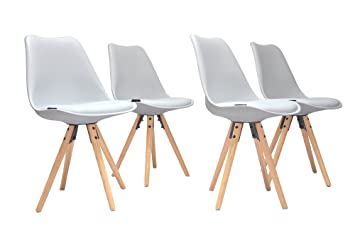 Superbe MassG Set Of 4 Retro White Dining Chairs With Padded Cushion 70u0027s Style  Eiffel Tower Inspired