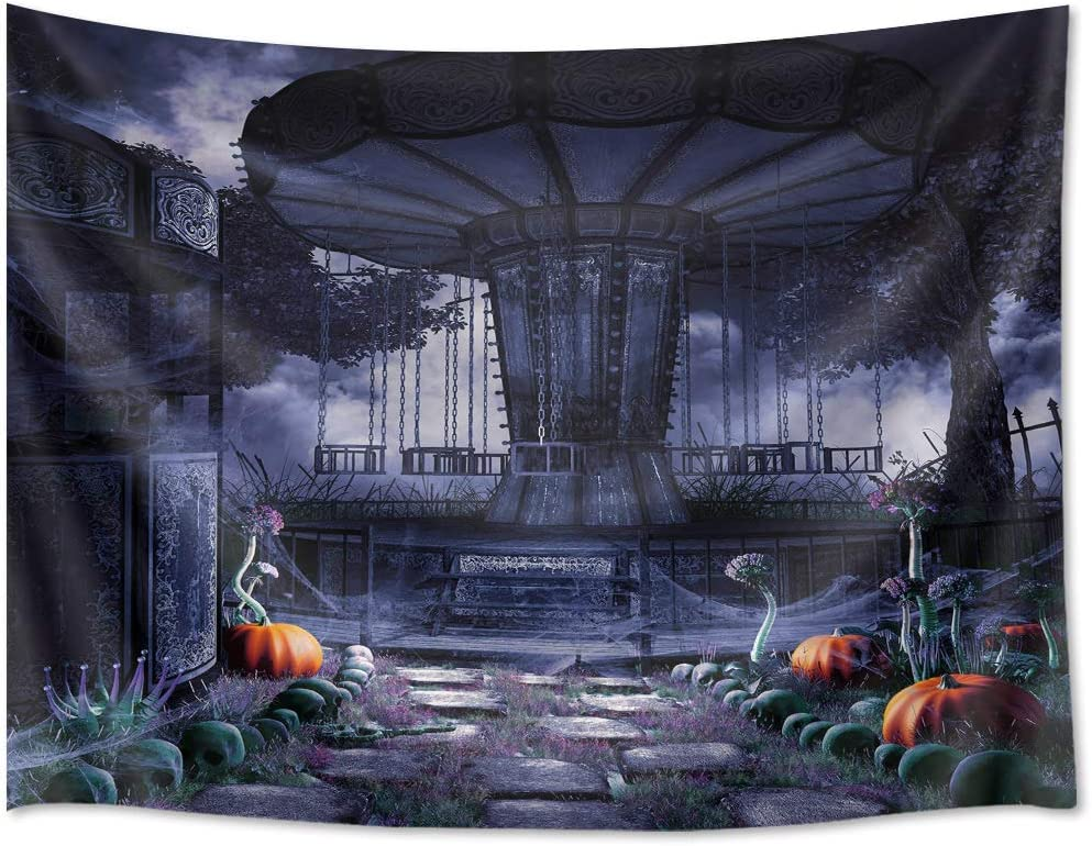 HVEST Halloween Tapestry Wall Hanging Pumpkin Amusement Park Tapestry Merry-go-Round Background Tapestry Mysterious Night The Shades Wall Blanket for Room Party Decor 92.5Wx70.9H inches