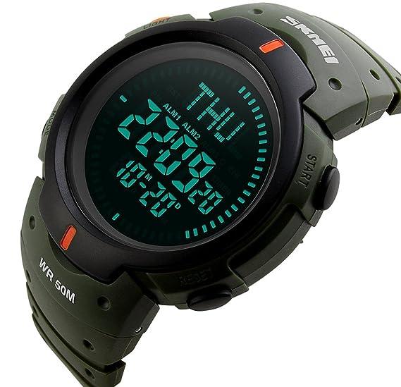 carlien reloj cronógrafo brújula al aire libre hombres impermeable multifunción LED digital Deportes Relojes de pulsera: skmei: Amazon.es: Relojes