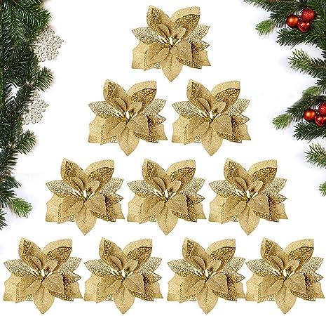 Addobbi Natalizi Amazon.Mejoser Dia 22cm 10 Pezzi Ornamenti Albero Di Natale Oro Fiore Artificiale Finti Addobbi Natalizi Decorazioni Natalizie Amazon It Casa E Cucina