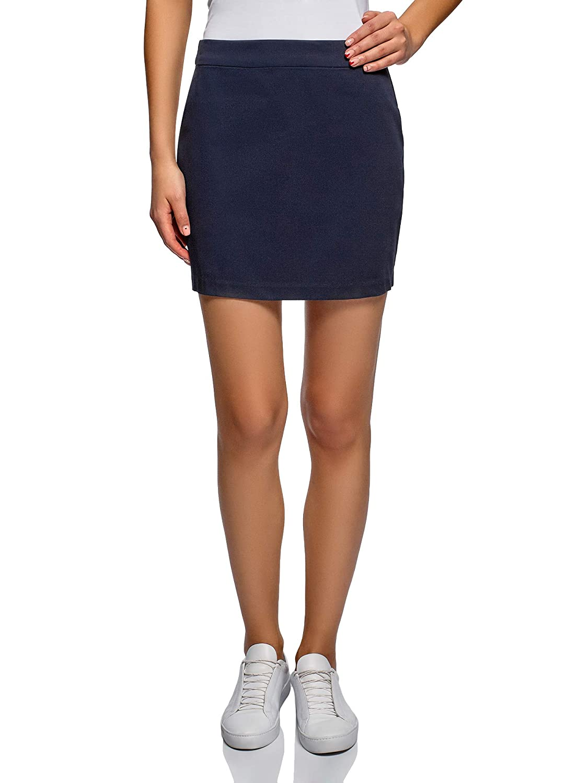 bluee (7900n) oodji Ultra Women's Cotton Mini Skirt
