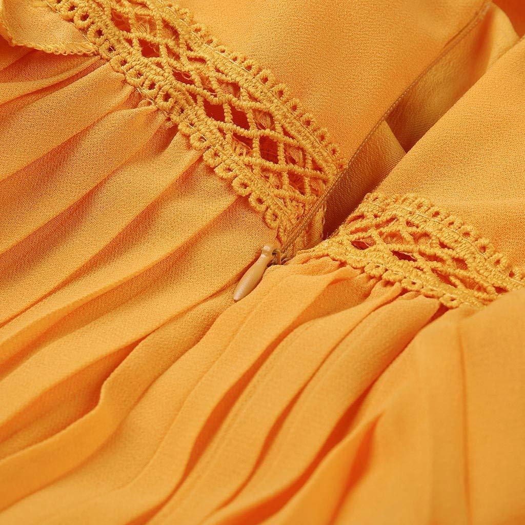 Ultramall Dresses for Women Party Wedding Knee Length Off-Shoulder Ruffles Sleeveless Mini Princess Dress(Yellow,L) by Ultramall (Image #9)
