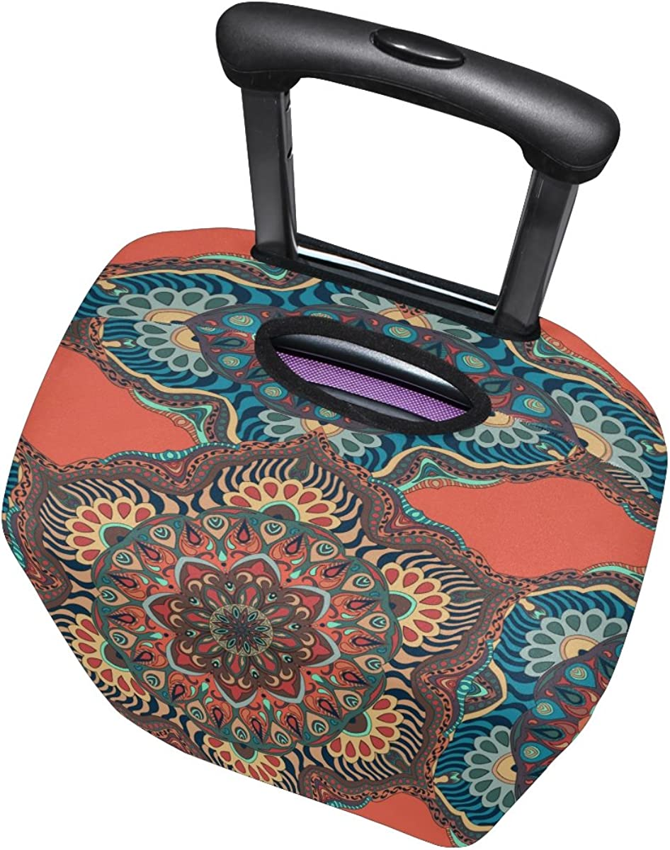 Indian Mandala Luggage Cover Travel Suitcase Protector Fits 18-21 Inch Luggage