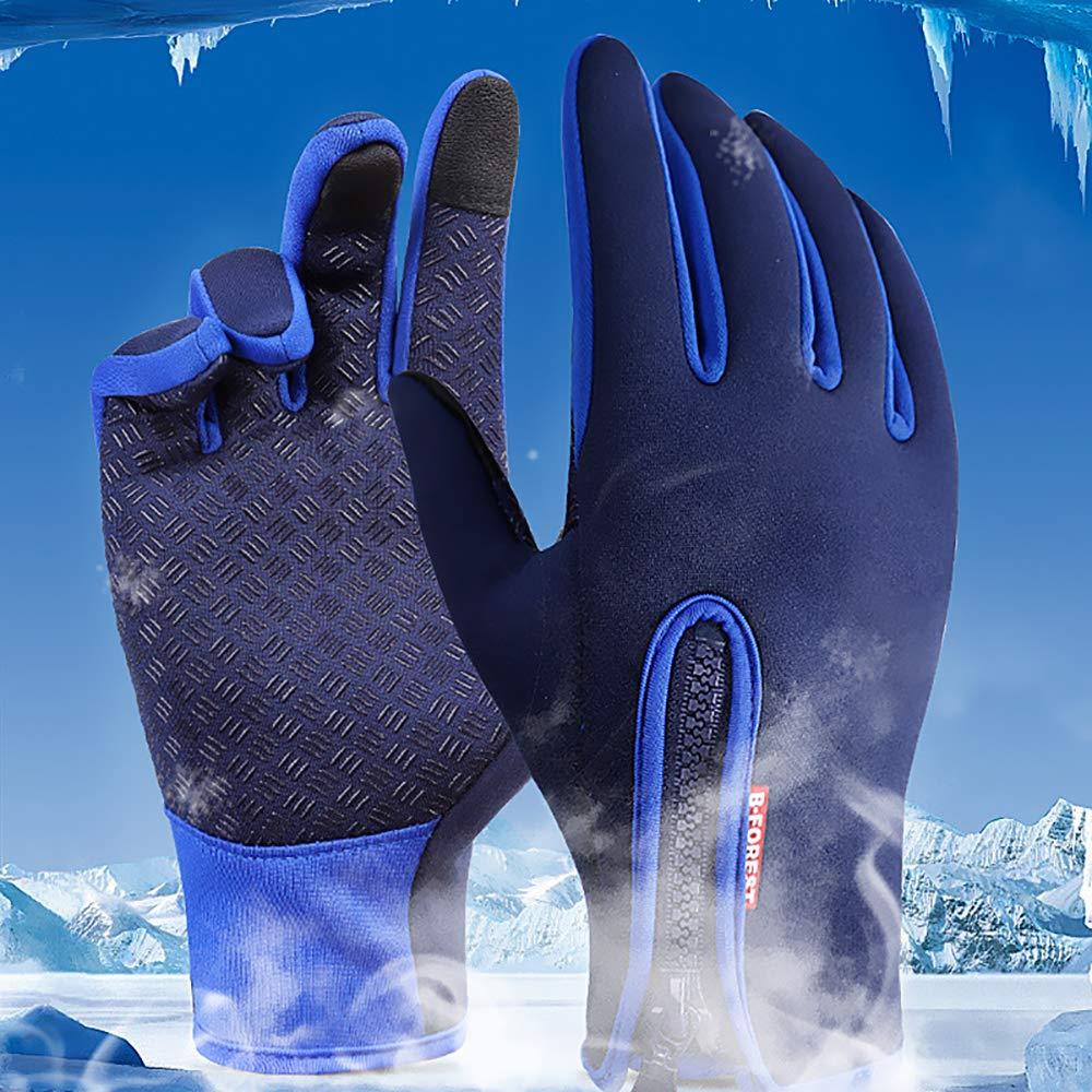 QNMM Gants pour /Écran Tactile Coupe-Vent Imperm/éables Froid Preuve Thermique Mitaines Thermiques V/élo V/élo Sports Compression Doublure Gants en Plein Air Chasse Escalade Sports,Blue,S