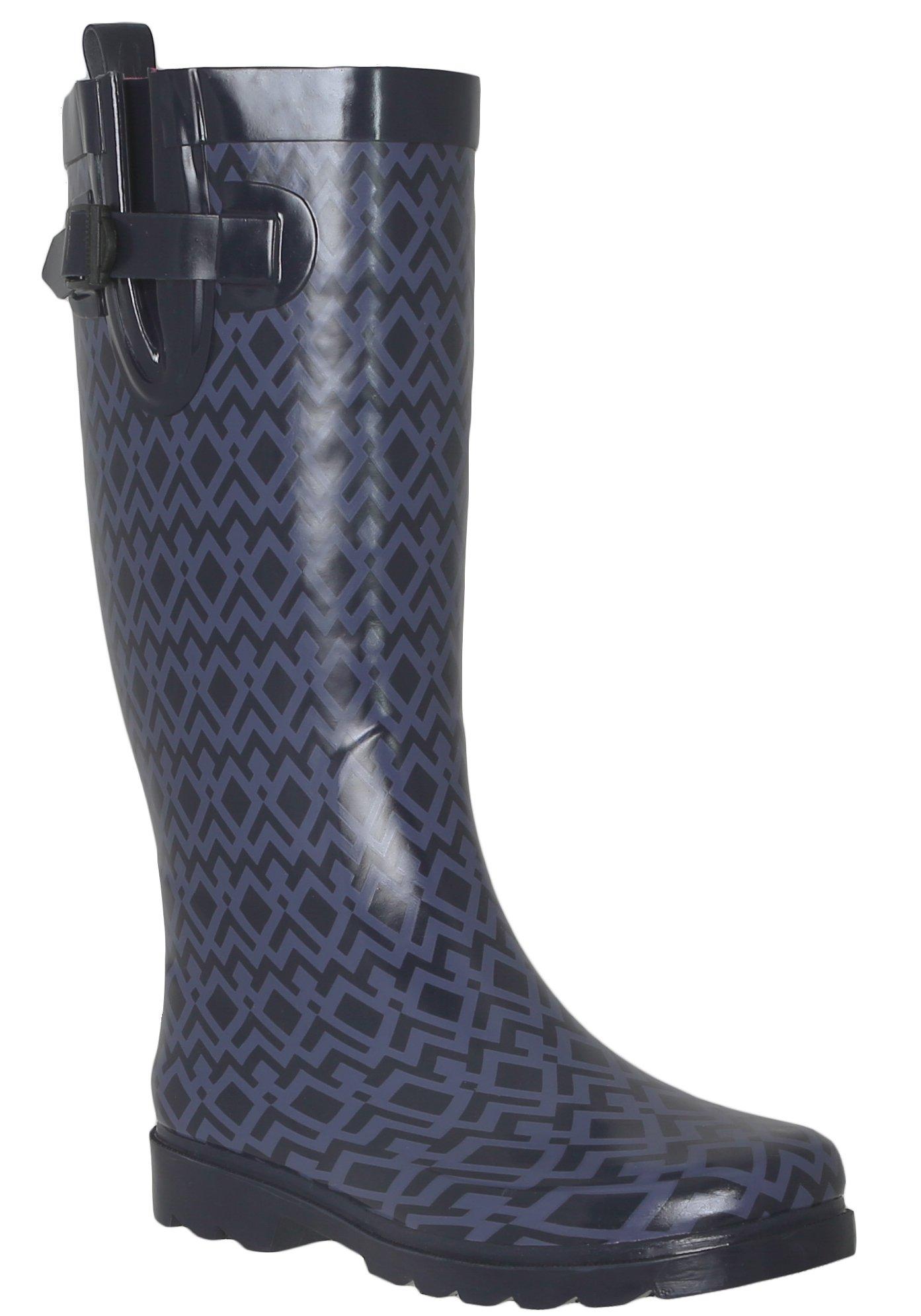Capelli New York Ladies Shiny Diamond Geo Printed Rain Boot Navy Combo 8