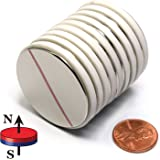 "CMS Magnetics N45 1.5"" x 1/16"" Disc Neodymium Magnets , A Pack of 10 Strong Magnets"