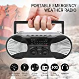 Greadio Emergency Solar Portable Weather Radio with Crank Charge, SOS Alarm, 3W Flashlight, Reading Lamp & 4000mAh Power Bank for Survival, Camping and Outdoors