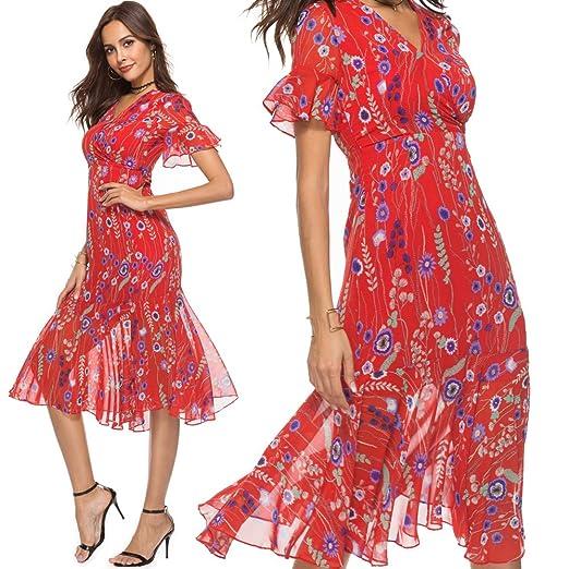 0a86b543 Bohemian Dress with v Neck high Waist Flounce Sleeve Ruffle Trim Chiffon  red Print Floral Holiday